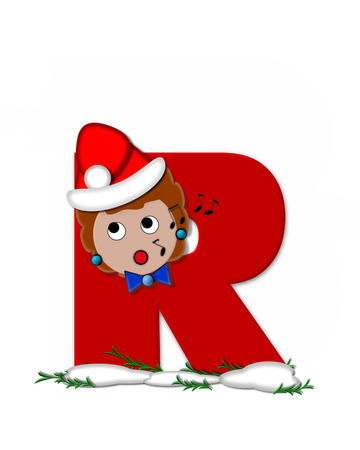 The letter R, in the alphabet set Carol of Christmas, is red and decorated with snow and a child singing Christmas Carols.