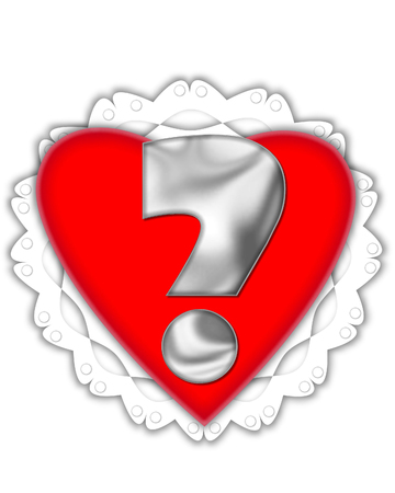 Question mark, in the alphabet set Valentine Foil, is metalic silver.  It sits on a red valentine and white frilly doily. Stock Photo