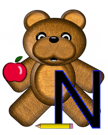 The letter N, in the alphabet set Bear Alphabet Lesson is decorated with a pencil and apple.  Brown bear fills in background.