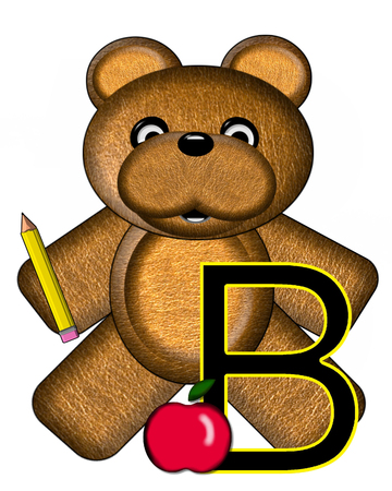 The letter B, in the alphabet set Bear Alphabet Lesson is decorated with a pencil and apple.  Brown bear fills in background.