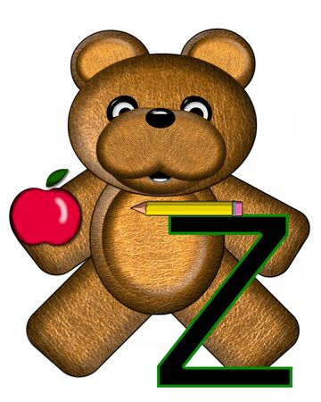 The letter Z, in the alphabet set Bear Alphabet Lesson is decorated with a pencil and apple.  Brown bear fills in background. Stock Photo