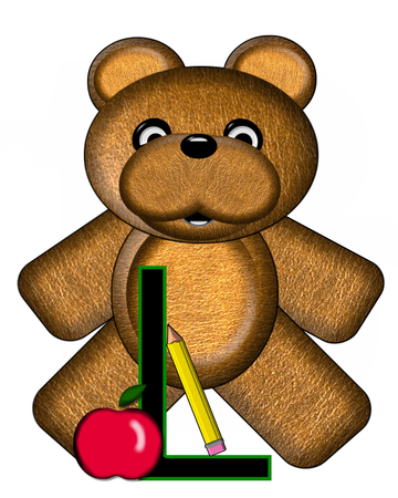 The letter L, in the alphabet set Bear Alphabet Lesson is decorated with a pencil and apple.  Brown bear fills in background. Stock Photo
