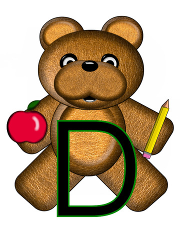 The letter D, in the alphabet set Bear Alphabet Lesson is decorated with a pencil and apple.  Brown bear fills in background.