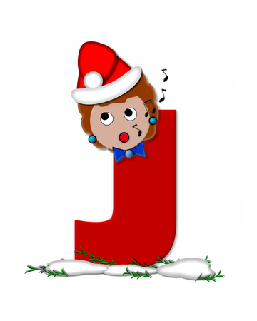 The letter J, in the alphabet set Carol of Christmas, is red and decorated with snow and a child singing Christmas Carols.  Stock fotó