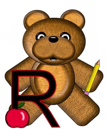 The letter R, in the alphabet set Bear Alphabet Lesson is decorated with a pencil and apple.  Brown bear fills in background.