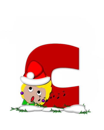 The letter C, in the alphabet set Carol of Christmas, is red and decorated with snow and a child singing Christmas Carols.