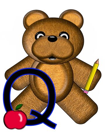The letter Q, in the alphabet set Bear Alphabet Lesson is decorated with a pencil and apple.  Brown bear fills in background.