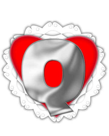 The letter Q, in the alphabet set Valentine Foil, is metalic silver.  It sits on a red valentine and white frilly doily.
