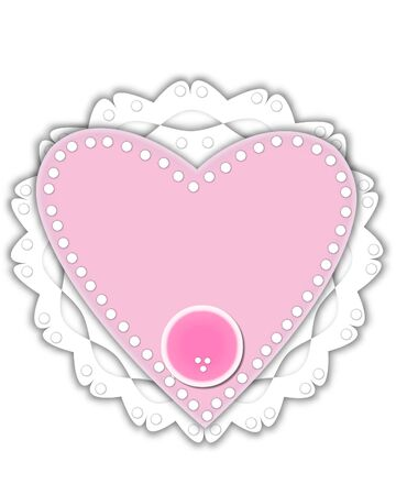 Period, in the alphabet set Romantic Valentine, is pink outlined with white.  It isits on a pink valentine and white frilly doily.