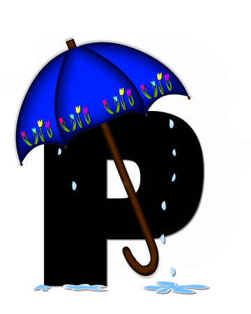 The letter P, in the alphabet set Alphabet April Rain, is black and decorated with rain drops and blue umbrella which is embellished with colorful tulips.