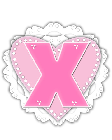 The letter X, in the alphabet set Romantic Valentine, is pink outlined with white.  It isits on a pink valentine and white frilly doily. Stock Photo