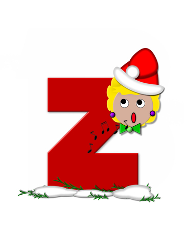The letter Z, in the alphabet set Carol of Christmas, is red and decorated with snow and a child singing Christmas Carols.  Stock Photo