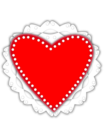 Red heart graphic, in the alphabet set Valentine Foil, is metalic silver.  It sits on a red valentine and white frilly doily.
