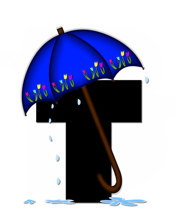 The letter T, in the alphabet set Alphabet April Rain, is black and decorated with rain drops and blue umbrella which is embellished with colorful tulips. Stock Photo