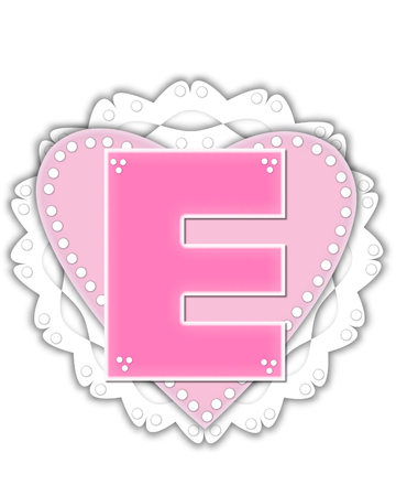 The letter E, in the alphabet set Romantic Valentine, is pink outlined with white.  It isits on a pink valentine and white frilly doily.