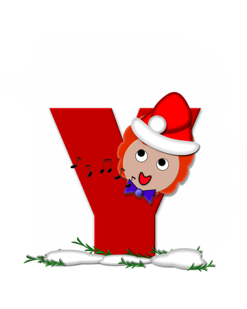 The letter Y, in the alphabet set Carol of Christmas, is red and decorated with snow and a child singing Christmas Carols.