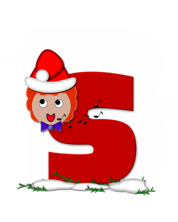The letter S, in the alphabet set Carol of Christmas, is red and decorated with snow and a child singing Christmas Carols.