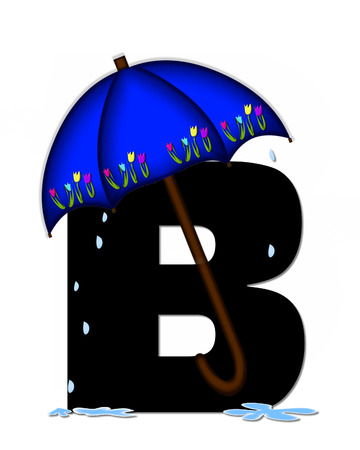 The letter B, in the alphabet set Alphabet April Rain, is black and decorated with rain drops and blue umbrella which is embellished with colorful tulips.