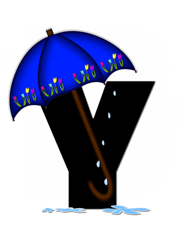 The letter Y, in the alphabet set Alphabet April Rain, is black and decorated with rain drops and blue umbrella which is embellished with colorful tulips.