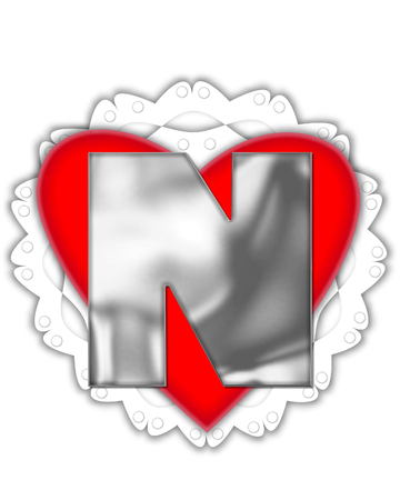 The letter N, in the alphabet set Valentine Foil, is metalic silver.  It sits on a red valentine and white frilly doily. Stock Photo