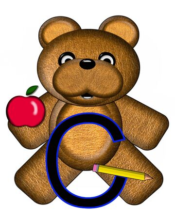The letter C, in the alphabet set Bear Alphabet Lesson is decorated with a pencil and apple.  Brown bear fills in background. Stock Photo
