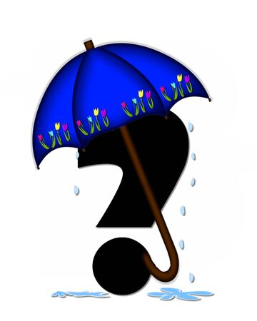 Question mark, in the alphabet set Alphabet April Rain, is black and decorated with rain drops and blue umbrella which is embellished with colorful tulips.