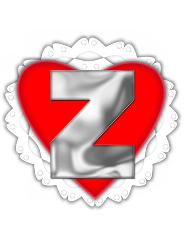 The letter Z, in the alphabet set Valentine Foil, is metalic silver.  It sits on a red valentine and white frilly doily.
