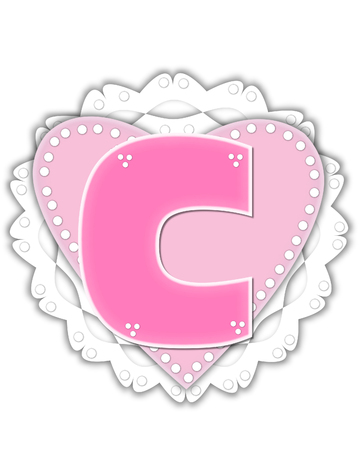 The letter C, in the alphabet set Romantic Valentine, is pink outlined with white.  It isits on a pink valentine and white frilly doily. Stock Photo