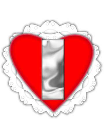 The letter I, in the alphabet set Valentine Foil, is metalic silver.  It sits on a red valentine and white frilly doily.