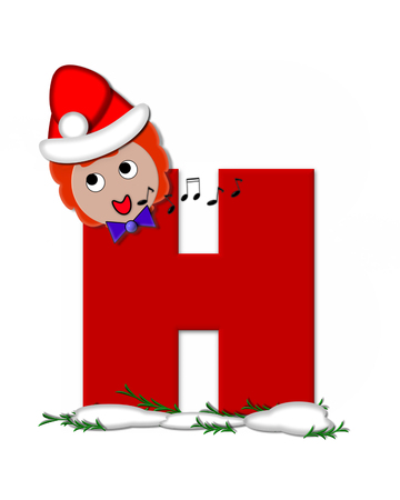 The letter H, in the alphabet set Carol of Christmas, is red and decorated with snow and a child singing Christmas Carols.