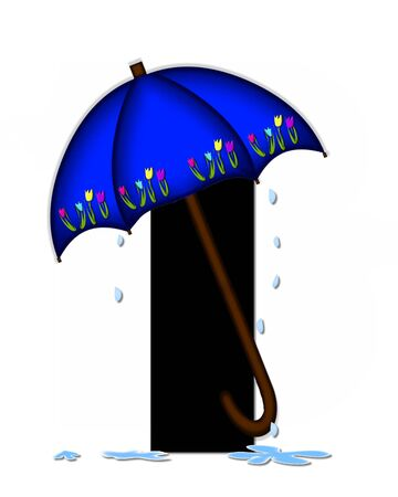 The letter I, in the alphabet set Alphabet April Rain, is black and decorated with rain drops and blue umbrella which is embellished with colorful tulips. Stock Photo