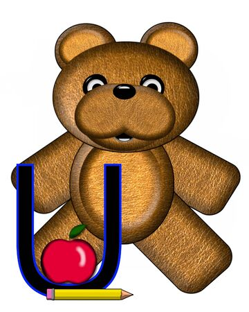 The letter U, in the alphabet set Bear Alphabet Lesson is decorated with a pencil and apple.  Brown bear fills in background.