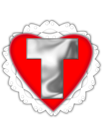 The letter T, in the alphabet set Valentine Foil, is metalic silver.  It sits on a red valentine and white frilly doily.