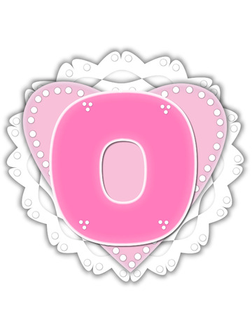 The letter O, in the alphabet set Romantic Valentine, is pink outlined with white.  It isits on a pink valentine and white frilly doily.