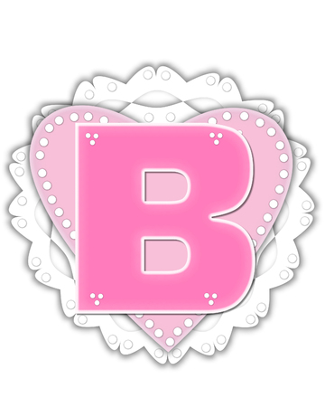 The letter B, in the alphabet set Romantic Valentine, is pink outlined with white.  It isits on a pink valentine and white frilly doily.