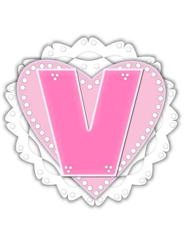 The letter V, in the alphabet set