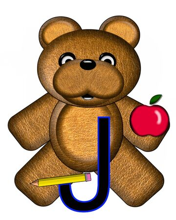 The letter J, in the alphabet set Bear Alphabet Lesson is decorated with a pencil and apple.  Brown bear fills in background. Stock Photo