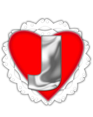 The letter J, in the alphabet set Valentine Foil, is metalic silver.  It sits on a red valentine and white frilly doily. Stock Photo