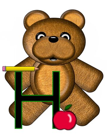 The letter H, in the alphabet set Bear Alphabet Lesson is decorated with a pencil and apple.  Brown bear fills in background.