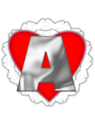 The letter A, in the alphabet set Valentine Foil, is metalic silver.  It sits on a red valentine and white frilly doily.