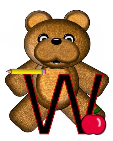 The letter W, in the alphabet set Bear Alphabet Lesson is decorated with a pencil and apple.  Brown bear fills in background.
