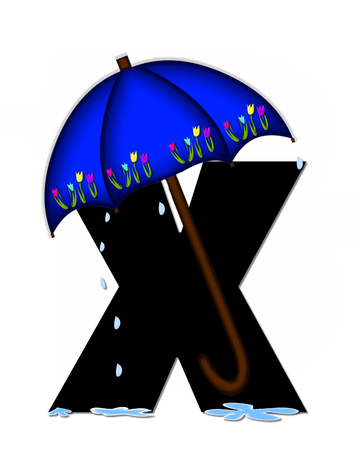 The letter X, in the alphabet set Alphabet April Rain, is black and decorated with rain drops and blue umbrella which is embellished with colorful tulips.