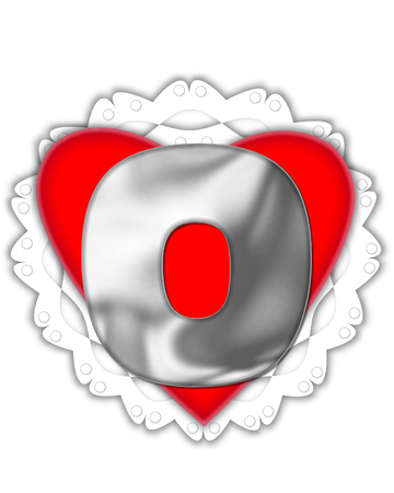 The letter O, in the alphabet set Valentine Foil, is metalic silver.  It sits on a red valentine and white frilly doily.