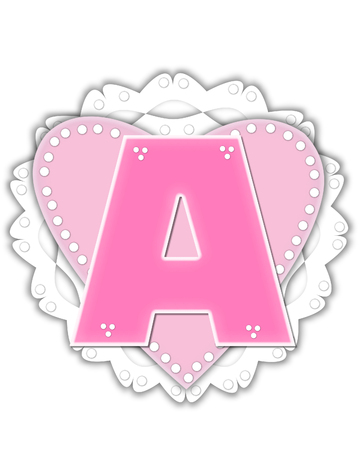 The letter A, in the alphabet set Romantic Valentine, is pink outlined with white.  It isits on a pink valentine and white frilly doily.
