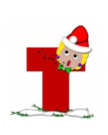 The letter T, in the alphabet set Carol of Christmas, is red and decorated with snow and a child singing Christmas Carols.  Stock Photo