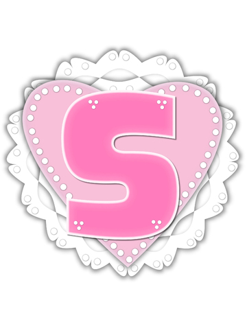 The letter S, in the alphabet set Romantic Valentine, is pink outlined with white.  It isits on a pink valentine and white frilly doily.