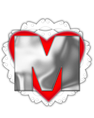 The letter M, in the alphabet set Valentine Foil, is metalic silver.  It sits on a red valentine and white frilly doily. Stock Photo