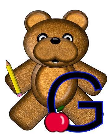 The letter G, in the alphabet set Bear Alphabet Lesson is decorated with a pencil and apple.  Brown bear fills in background.