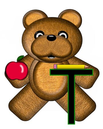 The letter T, in the alphabet set Bear Alphabet Lesson is decorated with a pencil and apple.  Brown bear fills in background.