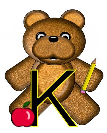 The letter K, in the alphabet set Bear Alphabet Lesson is decorated with a pencil and apple.  Brown bear fills in background. Stock Photo